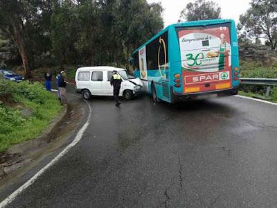 Persona herida accidente guagua vehículo GC-21 carretera teror