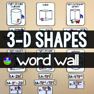 FREE Math Word Wall Volume and Surface Area