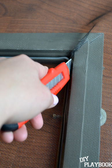 cutting mesh with utility knife