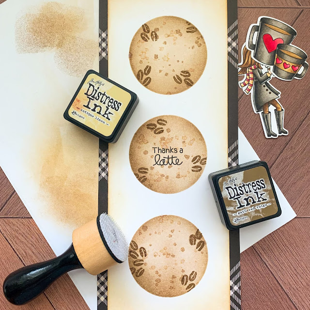 Thanks a Latte Card by February Guest Designer Caitlin Anthony | Pumpkin Latte Stamp Set and Slimline Masking Stencil Set by Newton's Nook Designs