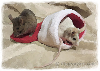 """""""Christmas Mice"""" artistically edited photo, painterly watercolor effect"""