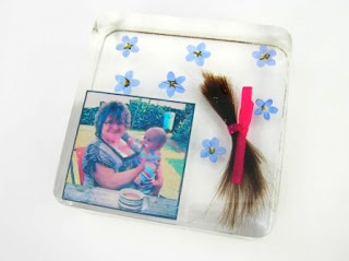 Hair, photo and forget me not flower paperweight