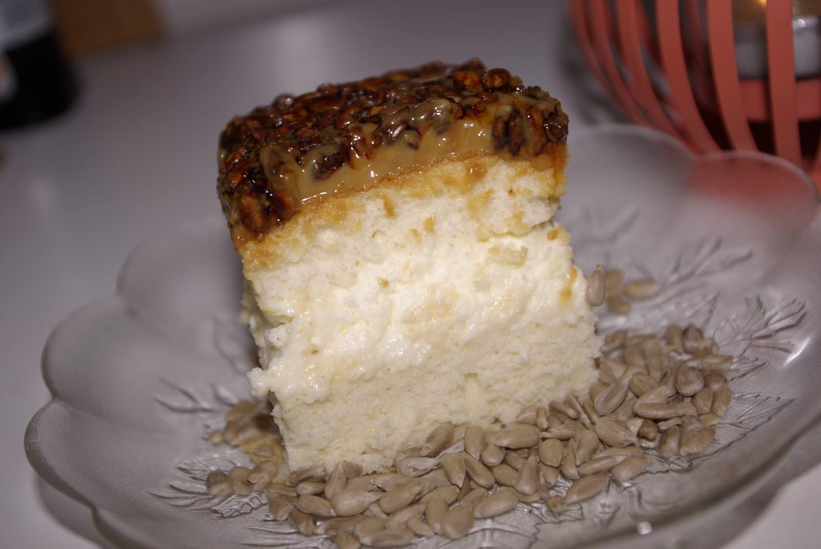 Ciasto z karmelem i słonecznikiem.