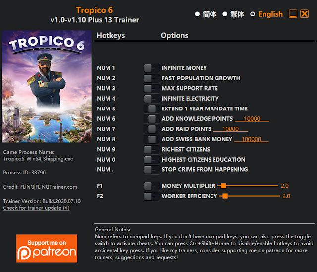 Tampilan Trainer Tropico 6 PC