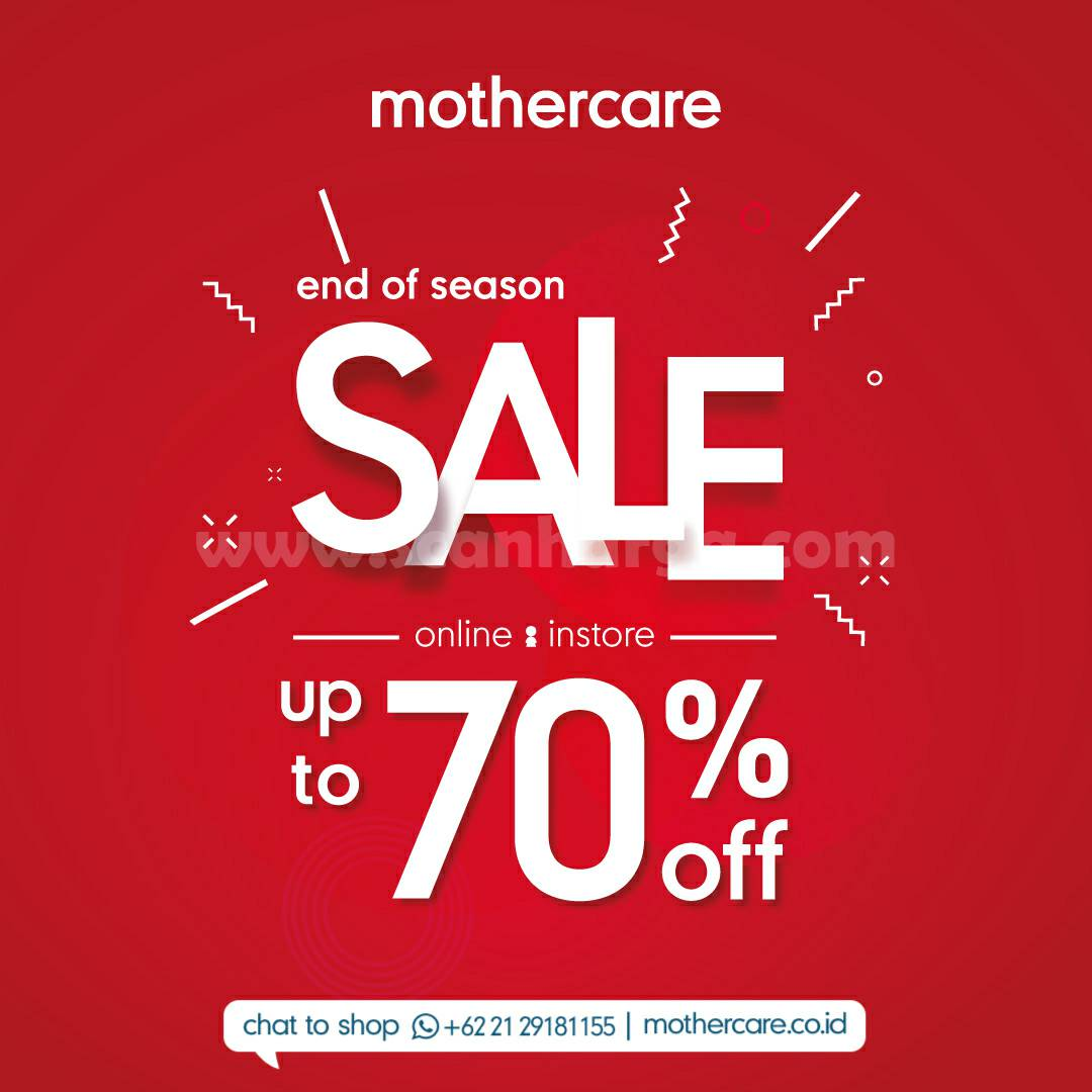 Promo MotherCare End Of Season Sale Up to 70% (online & instore)