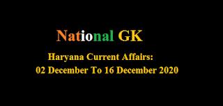 Haryana Current Affairs: 02 December To 16 December 2020