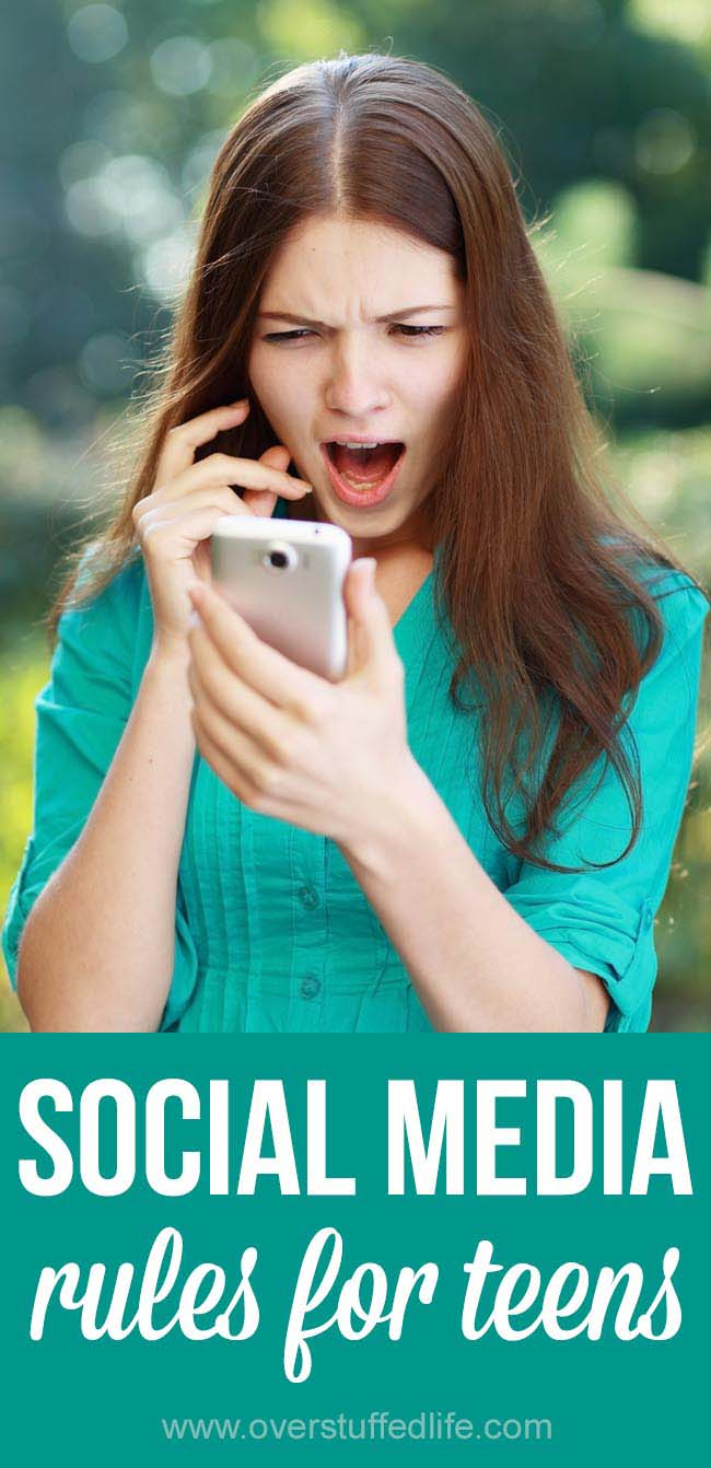 TEENS and SOCIAL MEDIA can be a scary combination. Use these SOCIAL MEDIA RULES FOR TEENAGERS  to help discuss social media usage with your kids and help them to be smart with what they post.