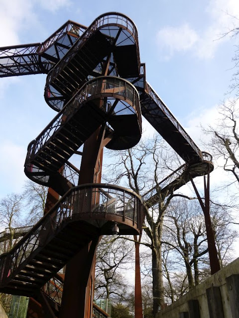 The stairs up to the Treetop Walkway at Kew Gardens