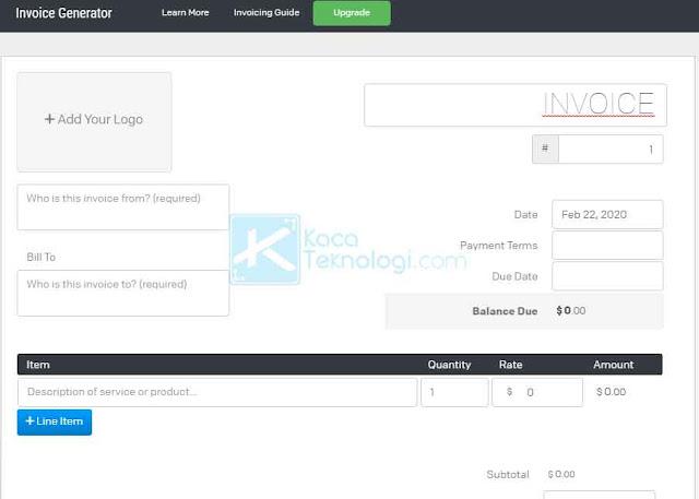 Cara membuat invoice/faktur/nota secara online menggunakan situs web/website gratis dan mudah. Websitenya antara lain sleekr, paper.id waveapp, invoice generator, zoho dll dan aplikasi ini juga cocok untuk membuat invoice online shop.