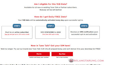 Tunetalk Prepaid 1GB Free Internet
