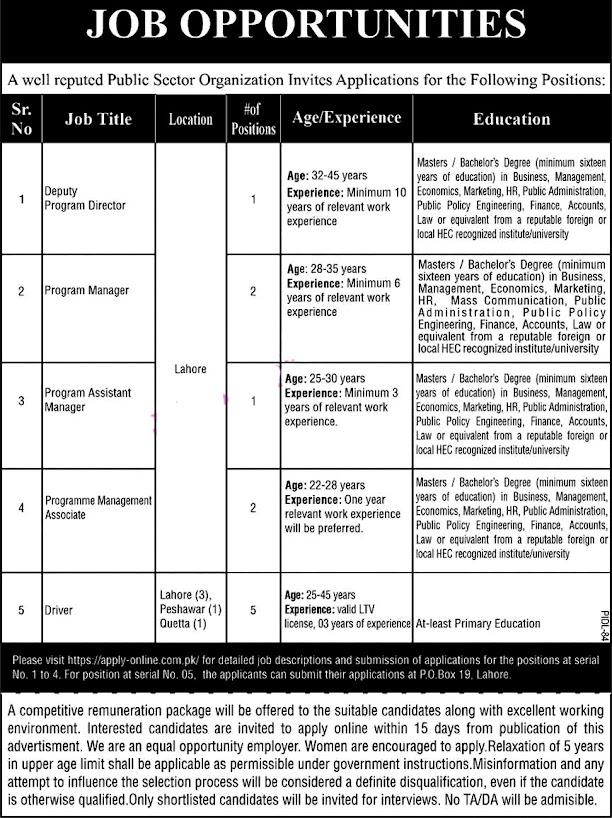 Public Sector Organization Lahore Latest  Jobs 2021 – PO Box No 19 Latest Jobs