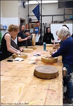 Brenda Wilbee making Indian drum