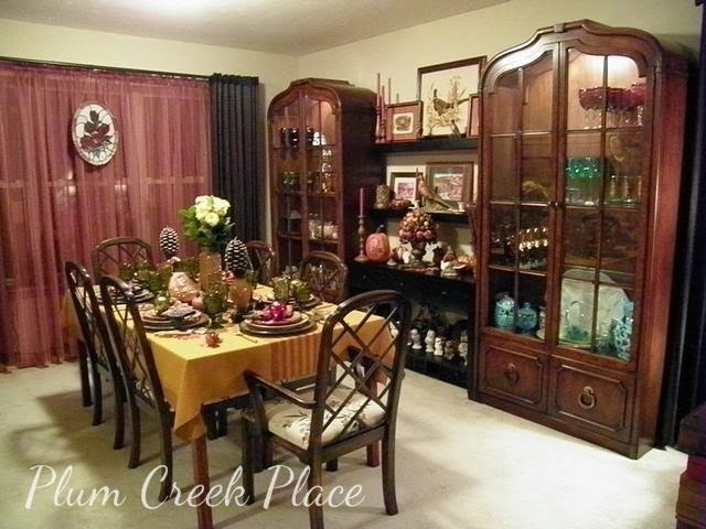 Fall tablescape, china cabinets