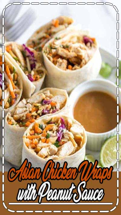 These Asian chicken wraps with peanut sauce are an easy and healthy lunch. Tortillas filled with chicken, crunch coleslaw and peanuts with a spicy, tangy peanut sauce. #chicken #lunch