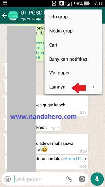 cara membersihkan chat grup whatsapp