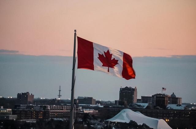 Canada flag city view