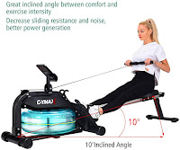 10 degree inclined angle aluminum alloy sliding seat rail on Goplus Gymax Water Rowing Machine, image