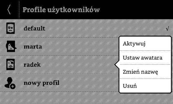Profile użytkowników w PocketBook Basic Touch 2 Save & Safe