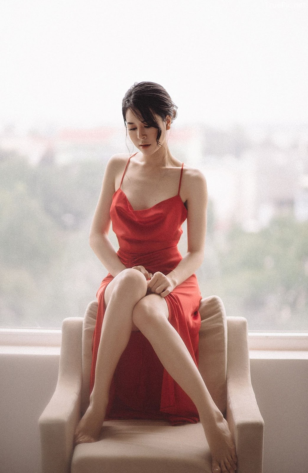 Vietnamese hot model - The beauty of Women with Red Camisole Dress - Photo by Linh Phan - Picture 9