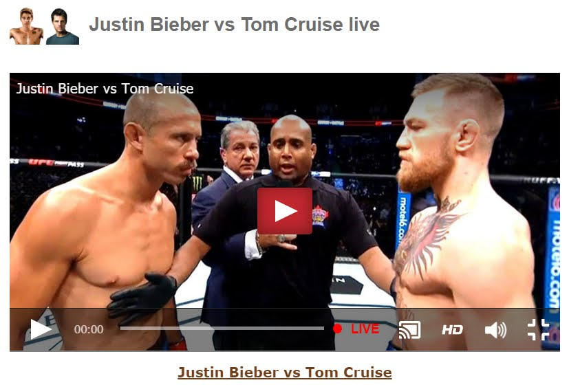 Diretta Justin Bieber vs Tom Cruise Streaming Rojadirecta.