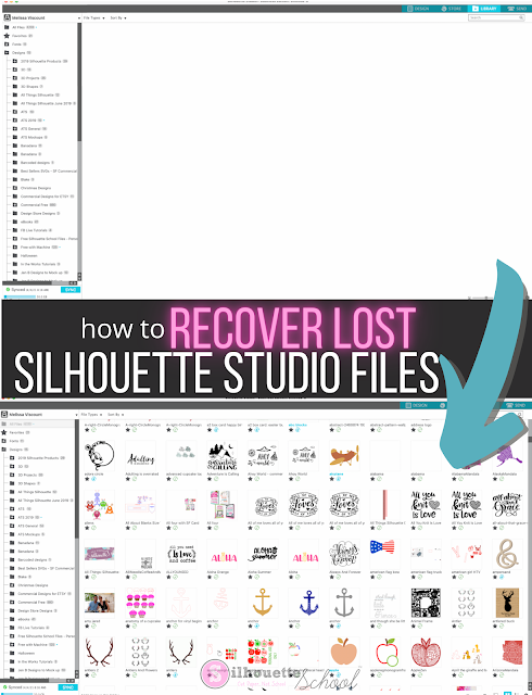 silhouette studio, silhouette cloud, silhouette library, recover missing designs, missing silhouette files
