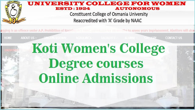 Koti Women's College,Degree courses,Online Admissions 2016