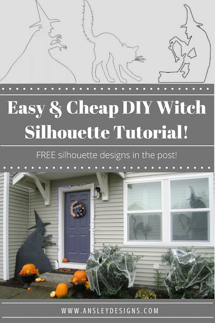 This is the EASIEST and cheapest way to make custom Halloween witch silhouettes for your windows! Just over $1 per window! Pin now to make later!