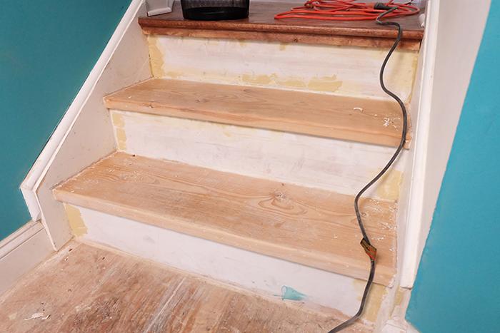 pine wood stair treads before