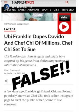 DMW Boss, Davido Reacts To Reports That Ubi Franklin Duped Him And Chioma