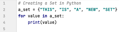 Access the data from a set in Python