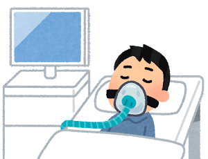 人工呼吸器をつけた人のイラスト(マスク)