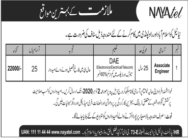 Nayatel Company Private Limited Job Advertisement For Associate Engineer in Pakistan Jobs 2021