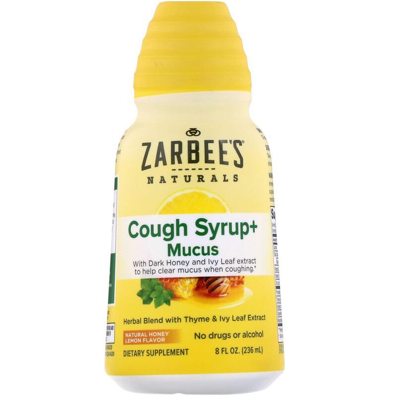 Zarbee's, Сироп от кашля с отхаркивающим действием, с натуральным вкусом меда и лимона, 236 мл