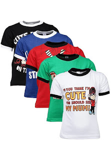 GOODWAY Boys Pack of 5 Attitude Theme Printed T-Shirts
