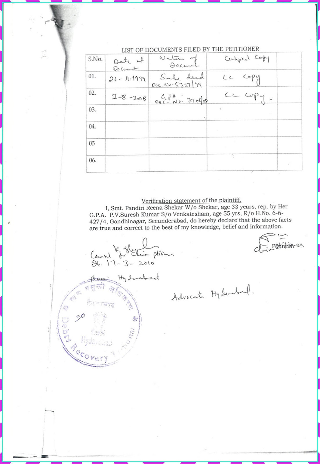 Claim Petition.No. 9 of 2010-D.R.T-1 Hyderabad-6
