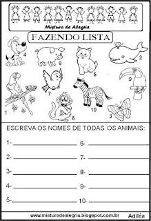 Lista de animais grupo semântico alfabetização