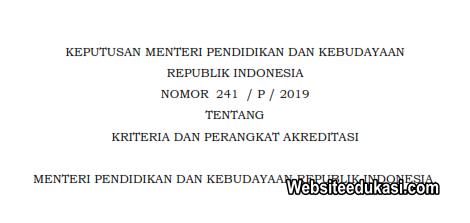 Kepmendikbud 241/P/2019 Tentang Kriteria dan Perangkat Akreditasi