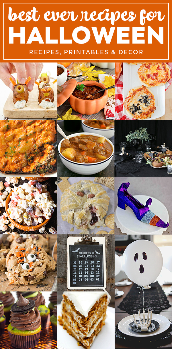 This Halloween party menu plan has everything you need to keep your little goblins happy, from delicious appetizers, main dishes, and desserts, to printables and party decor!