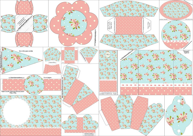 Shabby Chic Pink and Light Blue: Free Printable Kit.