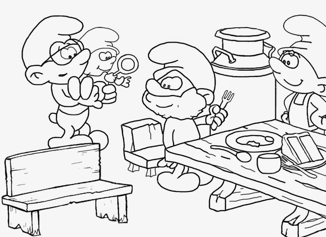 Funky Black And White Vintage TV Comic Strip Smurf Free Pictures To Color Cake Drawings Of
