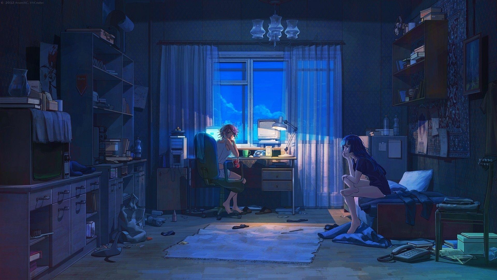 anime bedroom background