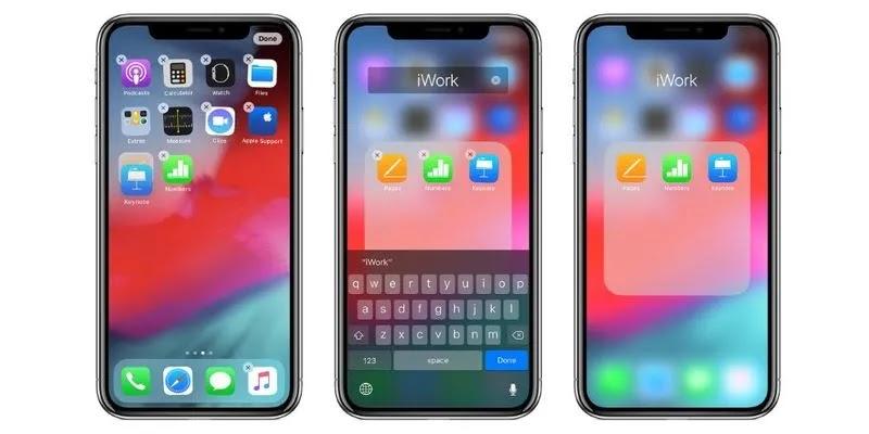 تنظيم التطبيقات على iOS.