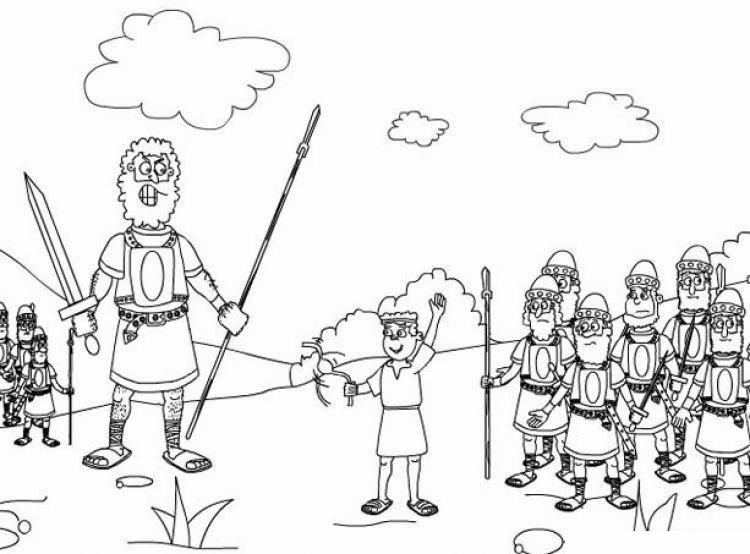 Dibujos Biblicos Para Colorear Del Rey David: David Y Goliat Para Colorear Dibujos Cristianos Para