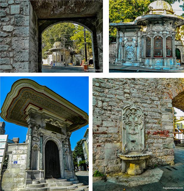 Quiosuqe, fonte e portal no entorno das muralhas do Palácio de Topkápi, em Istambul