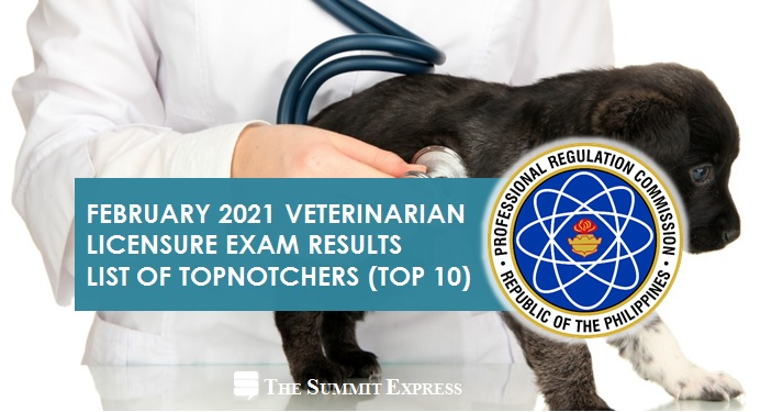 RESULT: February 2021 Veterinary board exam top 10 passers