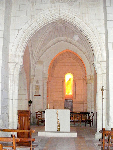 Altar, Saint Martin's Church, Marce sur Esves.  Indre et Loire, France. Photographed by Susan Walter. Tour the Loire Valley with a classic car and a private guide.