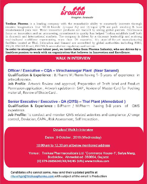 Troikaa Pharmaceuticals - Walk-in interview for QA/CQA on 9th October, 2019