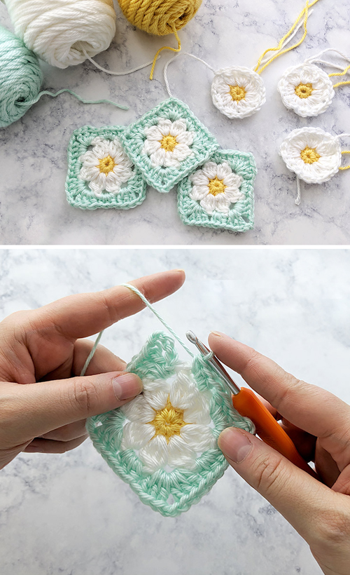 Dainty Daisy Granny Square - Motif & Video Tutorial