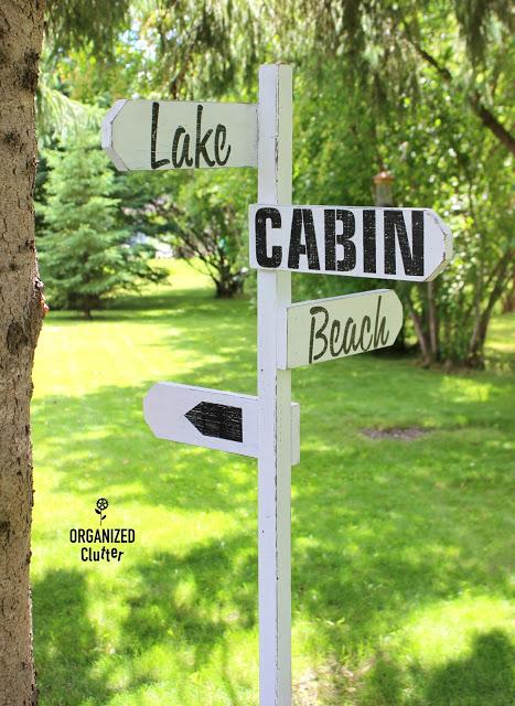 Lake Cabin Directional Sign #Oldsignstencils #stenciling
