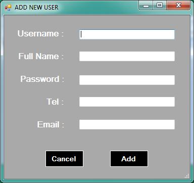 vb.net inventory system - add new user
